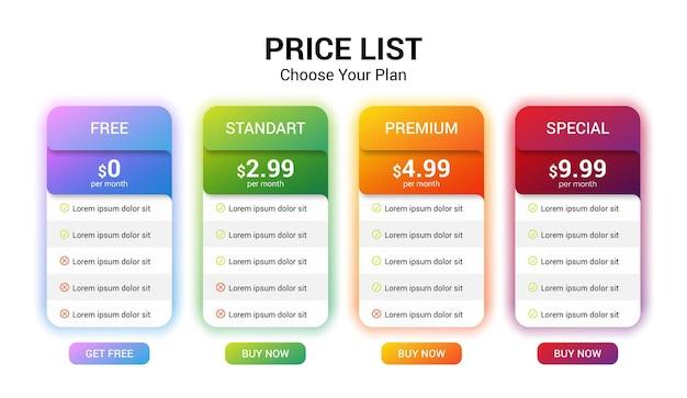 Modello di infografica banner piano tariffario vettoriale mock up per il web.