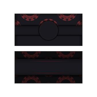 Vector design del biglietto da visita nero pronto per la stampa con motivi greci rossi. modello di biglietto da visita con posto per il tuo testo e ornamento astratto.