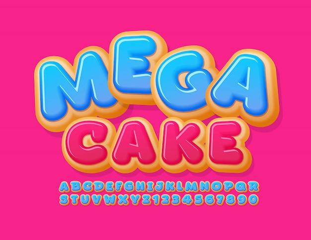 Banner promozionale di vettore mega vendita con carattere torta dolce. lettere e numeri dell'alfabeto a ciambella smaltata blu