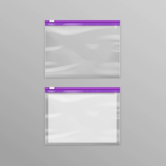 Sacchetti di chiusura lampo di plastica trasparente vuoti sigillati viola di vettore