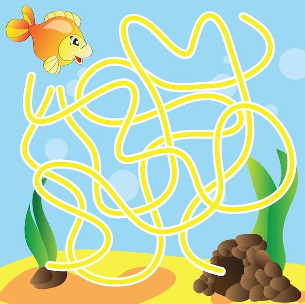 Puzzle vettoriale per bambini: la vita marina