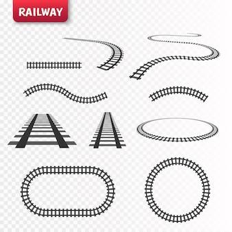 Set di binari vettoriali. ferrovia isolata