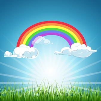Vector arcobaleno e nuvole cielo blu ed erba