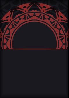 Biglietti da visita pronti per il vettore con posto per il testo e motivi astratti. design del biglietto da visita in colore nero con ornamento greco rosso.