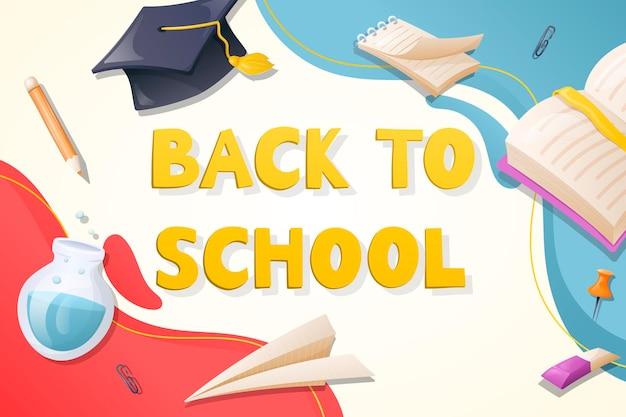Modello di vettore pronto con l'iscrizione torna a scuola. banner pubblicitario moderno con adesivi di cancelleria e forniture.