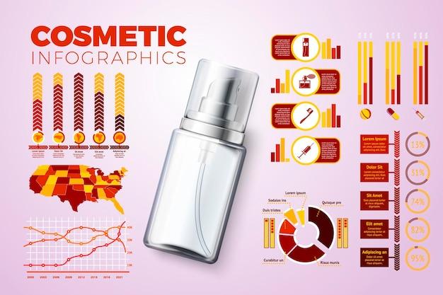 Bottiglia di crema 3d realistica vettoriale con icone e grafici di infografica aziendali isolati su bright