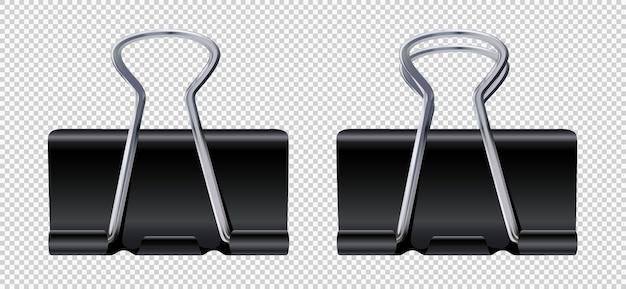 Set di graffette nere realistiche vettoriali graffette per raccoglitori portacarte in metallo cancelleria per ufficio