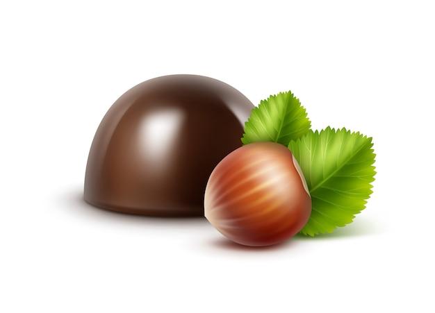 Caramella di cioccolato fondente nero scuro realistico di vettore con nocciole su bianco