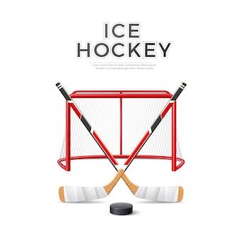 Vector realistico emblema hockey su ghiaccio bastoni incrociati con disco in porta rosso con rete