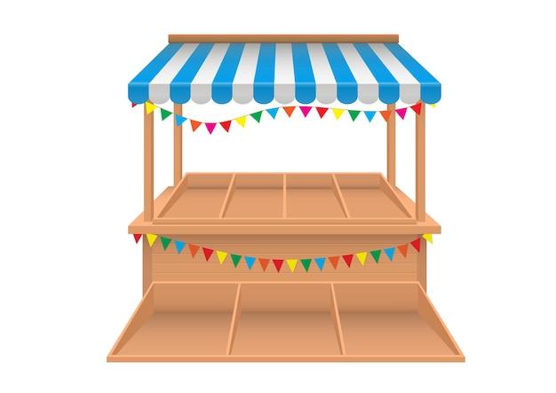 Vettore realistico della bancarella del mercato vuoto con tenda a strisce blu e bianca isolata