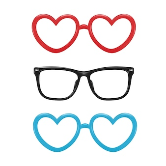 Occhiali da vista realistici vettoriali a forma quadrata a forma di cuore per il design di oggetti di scena per photobooth