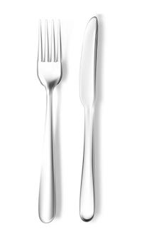 Forchetta e coltello realistici di vettore. stoviglie in acciaio inossidabile argento