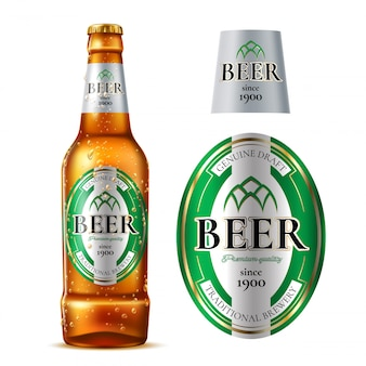 Bottiglia di birra di vetro realistica di vettore con etichetta