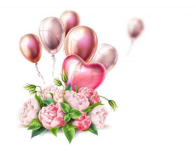 Vector realistici palloncini a forma di cuore, bouquet di fiori di peonia per invito vintage, cartolina d'auguri, san valentino
