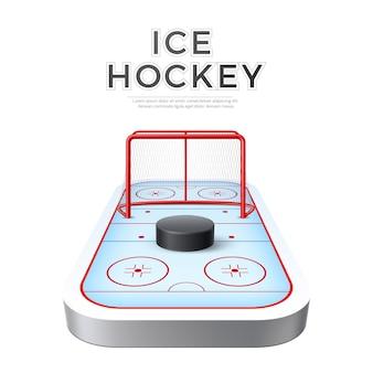 Arena di parco giochi di hockey su ghiaccio realistico di vettore con obiettivo e disco