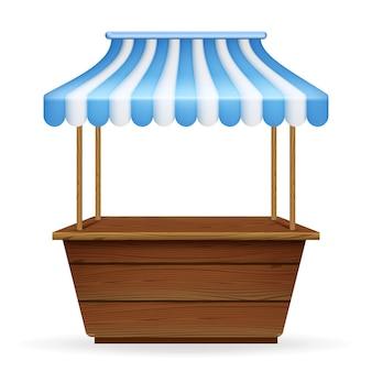 Illustrazione realistica di vettore della bancarella del mercato vuoto con tenda a strisce bianche e blu.