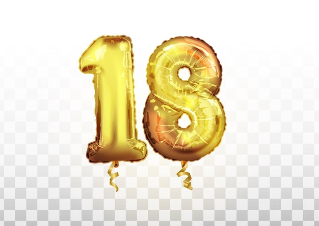 Numero di palloncino dorato isolato realistico di vettore di 18 per la decorazione dell'invito sullo sfondo trasparente. palloncino d'oro numero diciotto