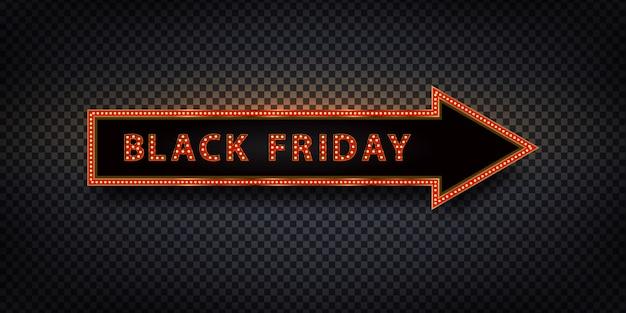 Freccia di tabellone per le affissioni al neon isolata realistica di vettore per black friday per la decorazione e la copertura