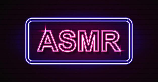 Insegna al neon isolata realistica di vettore del logo asmr per la decorazione e la copertura sullo sfondo della parete.