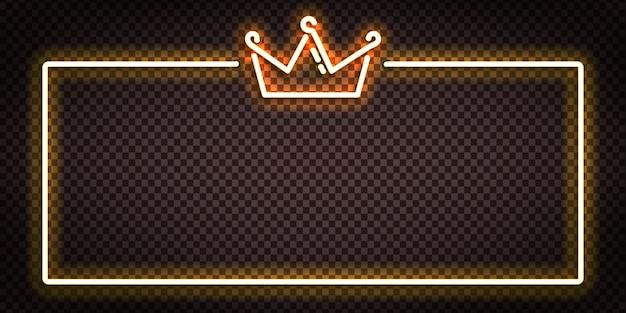 Segno al neon isolato realistico di vettore del logo del telaio della corona per la decorazione e il rivestimento.