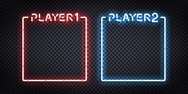 Insegna al neon isolata realistica di vettore dei fotogrammi player 1 e player 2 per la decorazione e il rivestimento del modello. concetto di versus e gioco.
