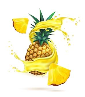Spruzzata di succo realistico vettoriale con fetta di ananas 3d ananas frutta schizzi di liquido