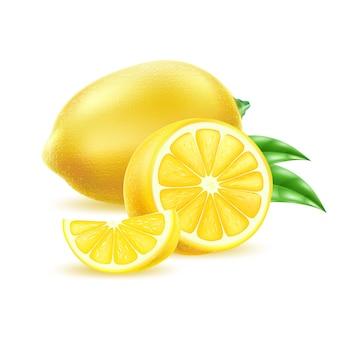 Limone realistico di vettore con foglie agrumi gialli succosi con fetta frutta biologica fresca