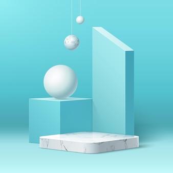 Podio di marmo realistico di vettore su sfondo di forme geometriche astratte