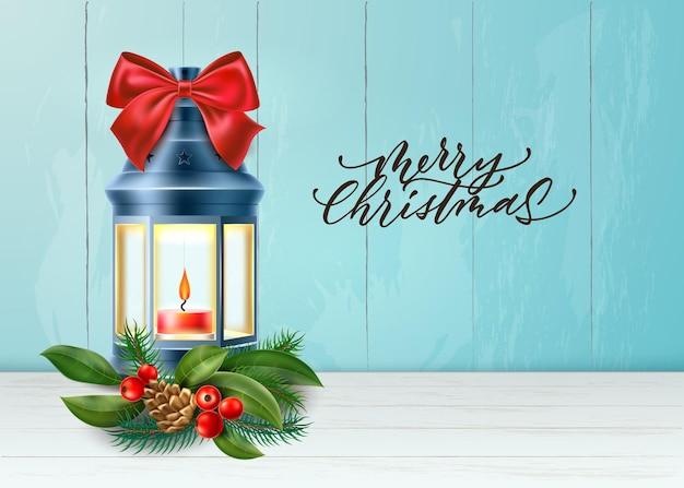 Lanterna di buon natale realistica vettoriale con rami di abete rosso pigna agrifoglio e nodo di fiocco rosso Vettore Premium