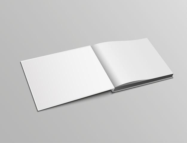 Pagine di mockup realistiche vettoriali di orientamento orizzontale del libro aperto in copertina rigida