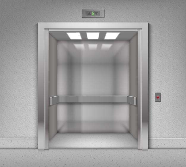 Ascensore di edificio per uffici in metallo cromato aperto realistico di vettore
