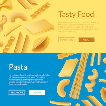 Banner web di tipi di pasta realistica di vettore