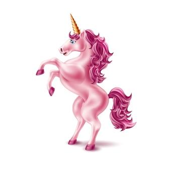Realistico unicorno rosa vettoriale con corno d'oro