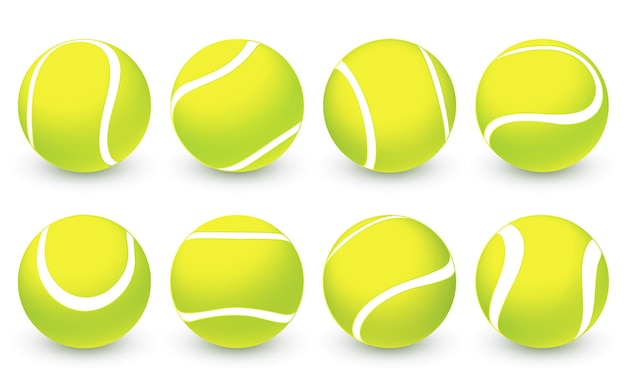 Set di palline da tennis realistiche di vettore simbolo di competizione sportivapalle da tennis 3d verdi con texture