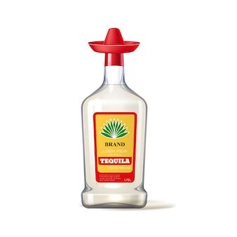 Coperchio sombrero realistico bottiglia di vetro tequila vettoriale
