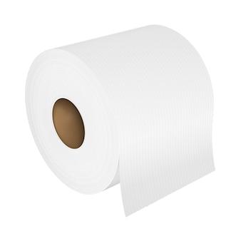 Rotolo di carta del tubo della toilette realistico di vettore isolato su bianco