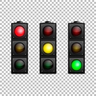 Insieme realistico del semaforo di vettore retroilluminazione principale isolata colore rosso giallo e verde modello di progettazione illustrazione eps1010