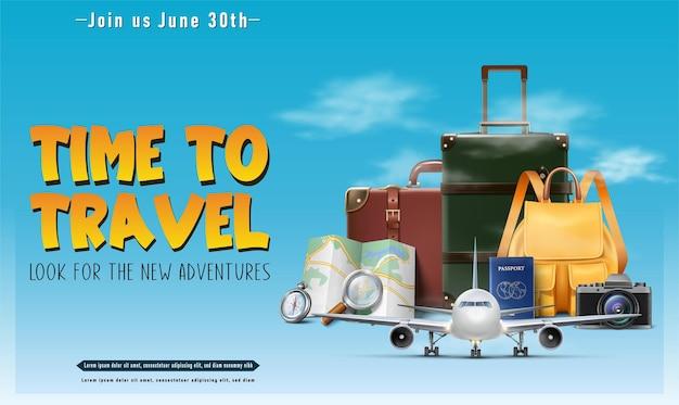 Banner o poster di concetto di viaggio realistico vettoriale con piano passaporto mappa bagagli elementi turistici