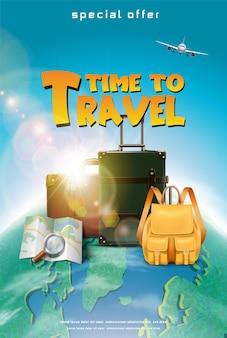 Banner o poster di concetto di viaggio realistico vettoriale con aereo mappa bagagli elementi turistici con ag