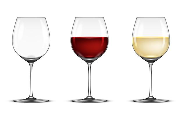 Insieme dell'icona del bicchiere di vino realistico di vettore - vuoto, con vino bianco e rosso, isolato su priorità bassa bianca. modello di disegno, illustrazione eps10.