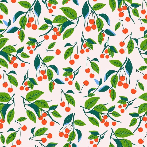 Illustrazione di foglia di ciliegio rosso vettoriale senza cuciture motivo ripetuto decorazioni per la casa stampa tessuto moda