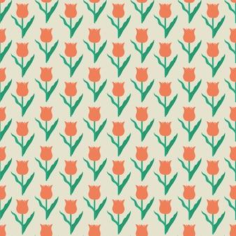 Modello di ripetizione senza cuciture del motivo dell'illustrazione del tulipano sveglio rosso di vettore