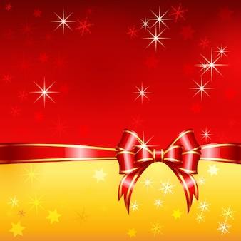 Cartolina d'auguri di vettore rosso e oro con nastri di natale, fiocco e fiocchi di neve