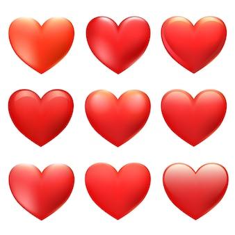 Cuori rossi di vettore per biglietti di san valentino