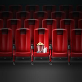 Sedili comodi moderni rossi di vettore nel cinema cinema con pocorn, occhiali 3d e due bevande
