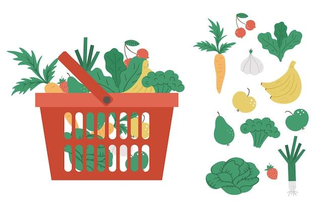 Carrello della spesa rosso di vettore con l'icona di prodotti isolato su priorità bassa bianca. carrello di plastica con verdure, frutta, bacche. illustrazione di cibo sano