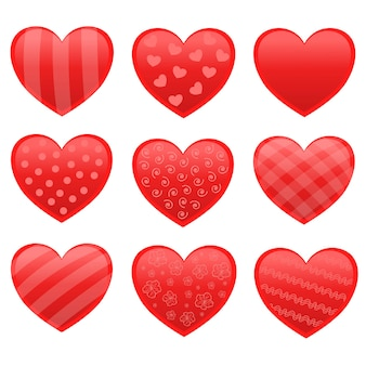 Set di adesivi per cuori di san valentino rossi di vettore