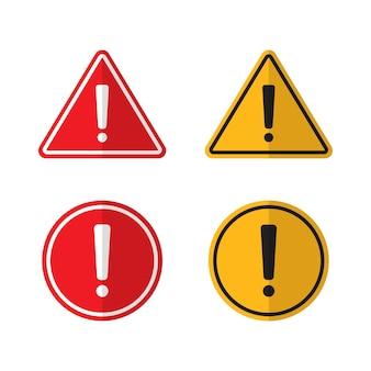 Set di segnali di pericolo di avviso isolato rosso e giallo di vettore.