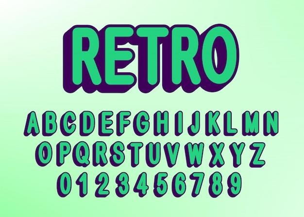 Carattere e numero di lettere alfabeto retrò vettoriale.