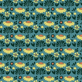 Vector retro colore scandinavia fiore e l'illustrazione del sole motivo ripetuto senza cuciture decorazioni per la casa